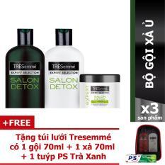 Combo Tresemme Detox gội 340g + xả 340g + ủ 180ml + Tặng túi lưới Tresemme có 1 gội 70ml + 1 xả 70ml + 1 kem đánh răng P/s