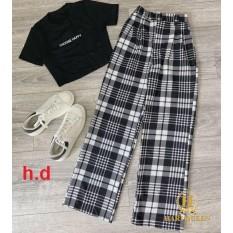Sét áo croptop choose + quần ống rộng kẻ HDA0420 1