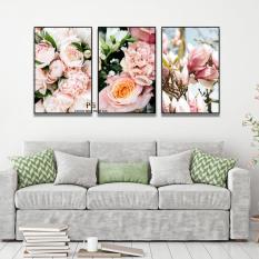 Bộ 3 tranh canvas Hoa trang trí phòng khách, phòng ngủ kt 40x60cm kèm Khung Viền 3D Nổi Bật – Khung Hình Phạm Gia PGTK534