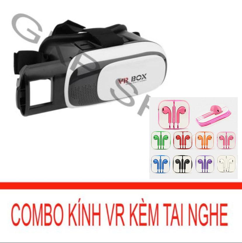 Kính xem phim 3D cho smartphone (Đen) + Tai nghe nhét tai kiểu dáng Earpod (Tím) PeepVN Combo 649