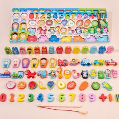 Đồ chơi gỗ thông minh cho bé 61 chi tiết, chất liệu an toàn, đa dạng màu sắc và hình dáng có cần câu nam châm