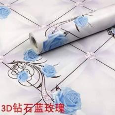 Giấy dán tường hoa hồng xanh nền tím ( cuộn dài 10m khổ rộng 45cm, có sẵn keo)