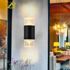 Đèn led pha lê 2 đầu trang trí cột tường hành lang cầu thang trong nhà ngoài trời chống nước 3001