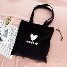 Túi tote đeo hai quai hình trái tim 2 màu trắng, đen