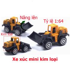 Đồ chơi mô hình xe xúc đất mini KAVY hợp kim an toàn cho bé, có thể trang trí – màu vàng