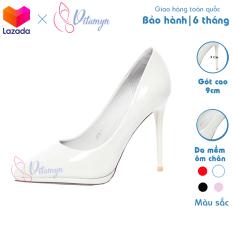 Giày cao gót nữ trơn mũi nhọn chất liệu da Simili chống thấm, đế đặc, gót nhọn cao 9cm, thiết kế thời trang
