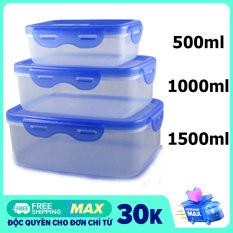 Combo 3 hộp nhựa đựng thực phẩm chữ nhật cao cấp dung tích 500ml, 1000ml, 1500ml nhựa trong suốt, có nắp đậy