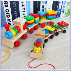 Đồ Chơi Xe Lửa Tàu Hỏa Thả Hình Khối Bằng Gỗ An Toàn Cho Bé, Đồ Chơi Gỗ Theo Phương Pháp Giáo Dục Montessori Phát Triển Tư Duy, Khả Năng Vận Động Của Bé MonShop Giá Tốt Nhất