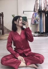 Pijama dài tay lụa satin đồ ngủ họa tiết tim ( Hàng loại đẹp)