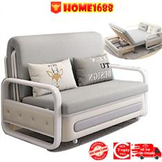 (Siêu Phẩm Cuối Năm) Giường Sofa Đa Năng Gấp Gọn Thông Minh Phù Hợp Với Mọi Không Gian, Đệm Bọt Biển, Khung Thép Tĩnh Điện Chắc Chắn… ( Màu Xám Đậm, Xám Nhạt ) – Home1688