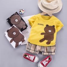 Bộ cộc tay gấu nâu 3 màu cho bé trai, bé gái QATE588