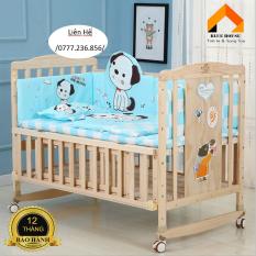 Cũi kéo dài thành giường, Cũi trẻ em, Cũi cho bé, Cũi kèm đệm sơ dừa cao cấp – H100
