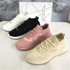 (4 Màu kèm Video) giầy thể thao, giầy sneaker nữ thơi trang hàn quốc màu kem màu hồng màu trắng màu đen chất vải đi êm chân