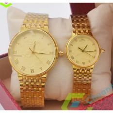Đồng hồ nam, nữ Baishuns mặt vàng họa tiết rồng bay phượng múa dây xích kim loại mạ vàng 2019