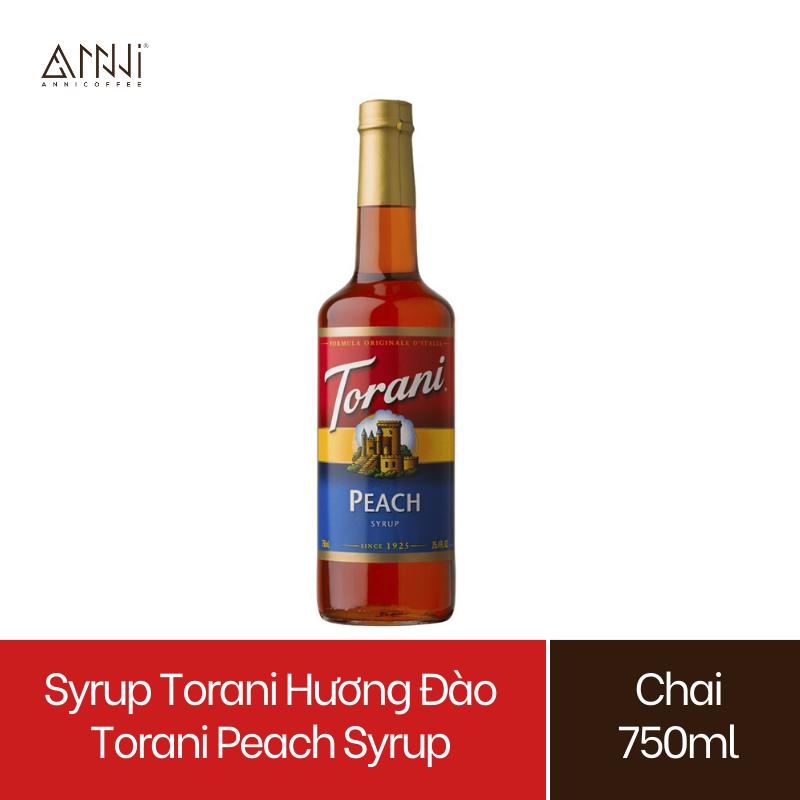 Syrup Torani Chai thủy tinh Hương Đào (750ml) – Nhập khẩu Mỹ – Torani Peach Syrup, Siro Đào – pha chế trà, trà sữa, soda