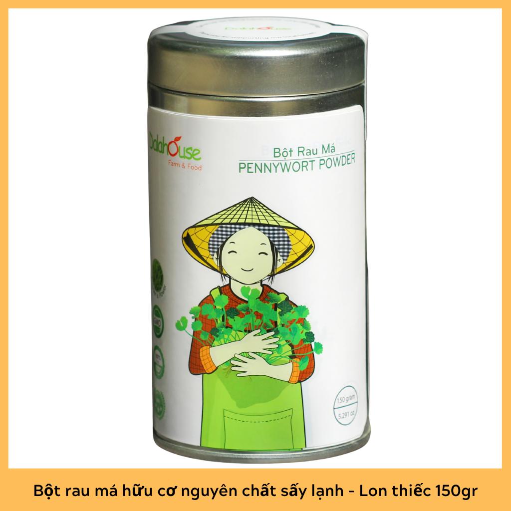 Bột rau má hữu cơ nguyên chất sấy lạnh Dalahouse Lon thiếc 150gr – Giải độc, mát gan, thanh nhiệt cơ thể, giảm mụn, đẹp da