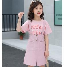 Bộ yếm và áo cotton cho bé gái từ 3 đến 14 tuổi – BY021