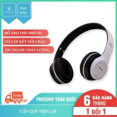 Tai nghe Bluetooth chụp tai P47 hỗ trợ thẻ nhớ SD có cap kết nối 2 đầu 3.5mm âm thanh chất lượng có mic over ear headphones P47