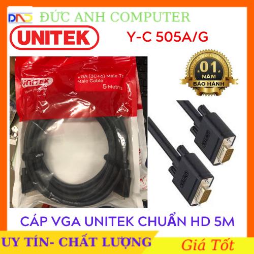 Cáp Vga UNITEK 5M (YC 505A/G)- Chính Hãng 100%, Bảo Hành 12 Tháng – 1 Đổi 1- Dây Cao Cấp Hỗ Trợ Độ Phân Giải Cao Lên Tới 1920x1080P full HD.
