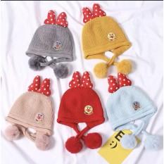 [Lấy mã giảm thêm 30%]Mũ lẹn cho bé hình nơ mũ len bé gái QATE508 mũ len cho bé
