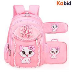 [COMBO3 ]Balo chống gù + Túi đeo chéo + hộp bút mèo Angela cho bé gái lớp 1-3 (Hồng phấn )
