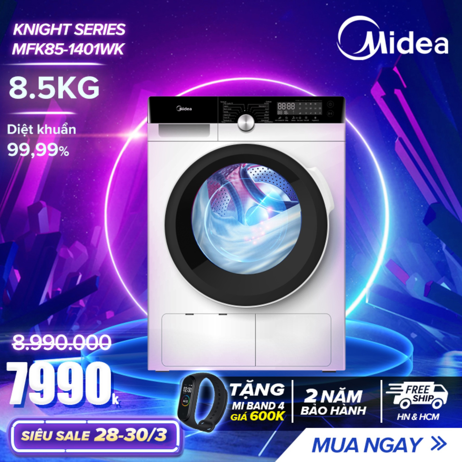Shop bán Máy Giặt Cửa Trước 8.5kg Midea MFK85-1401 (Diệt Khuẩn, 14 ...