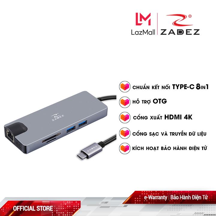 Bộ chuyển đổi Type-C Hub ZAH-518 (8 trong 1)