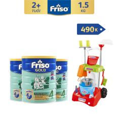 [Thu thập voucher giảm thêm 40K] Bộ 3 lon sữa bột Friso Gold 4 1.5kg + Tặng Bộ nhập vai lau nhà trị giá 490K