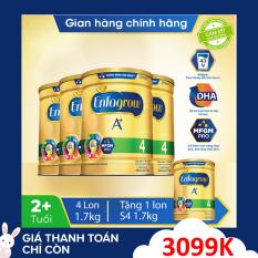 [FREESHIP TOÀN QUỐC]Bộ 4 lon sữa bột Enfagrow 4 cho trẻ trên 2 tuổi 1.7kg – Tặng 1 lon sữa bột Enfagrow 4 1.7kg – Cam kết hạn sử dụng còn ít nhất 10 tháng