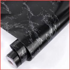 Cuộn 5 mét giấy dán tường đá hoa cương đen có keo sẵn khổ rộng 45cm, giấy dán tường vân đá hoa cương đen, giấy dán tường giả vân đá, giấy dán tường có keo sẵn, decal giấy dán tường màu đen bóng 5m – Lala Mart