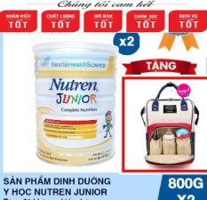 Tặng 1 balo bỉm sữa] Bộ 2 lon Sản phẩm dinh dưỡng y học Nutren Junior cho trẻ từ 1-10 tuổi 800g – Cam kết HSD còn ít nhất 10 tháng
