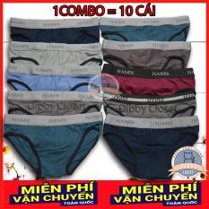 Combo 10 Quần Lót Nam cao cấp | quần xì nam | quần xịp, sịp nam | chữ HN | vải cotton 2 chiều | tam giác truyền thống | đồ lót nam