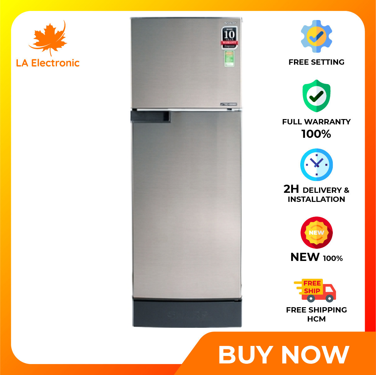 Trả Góp 0% – Tủ lạnh Sharp Inverter 180 lít SJ-X196E-SL – Miễn phí vận chuyển HCM