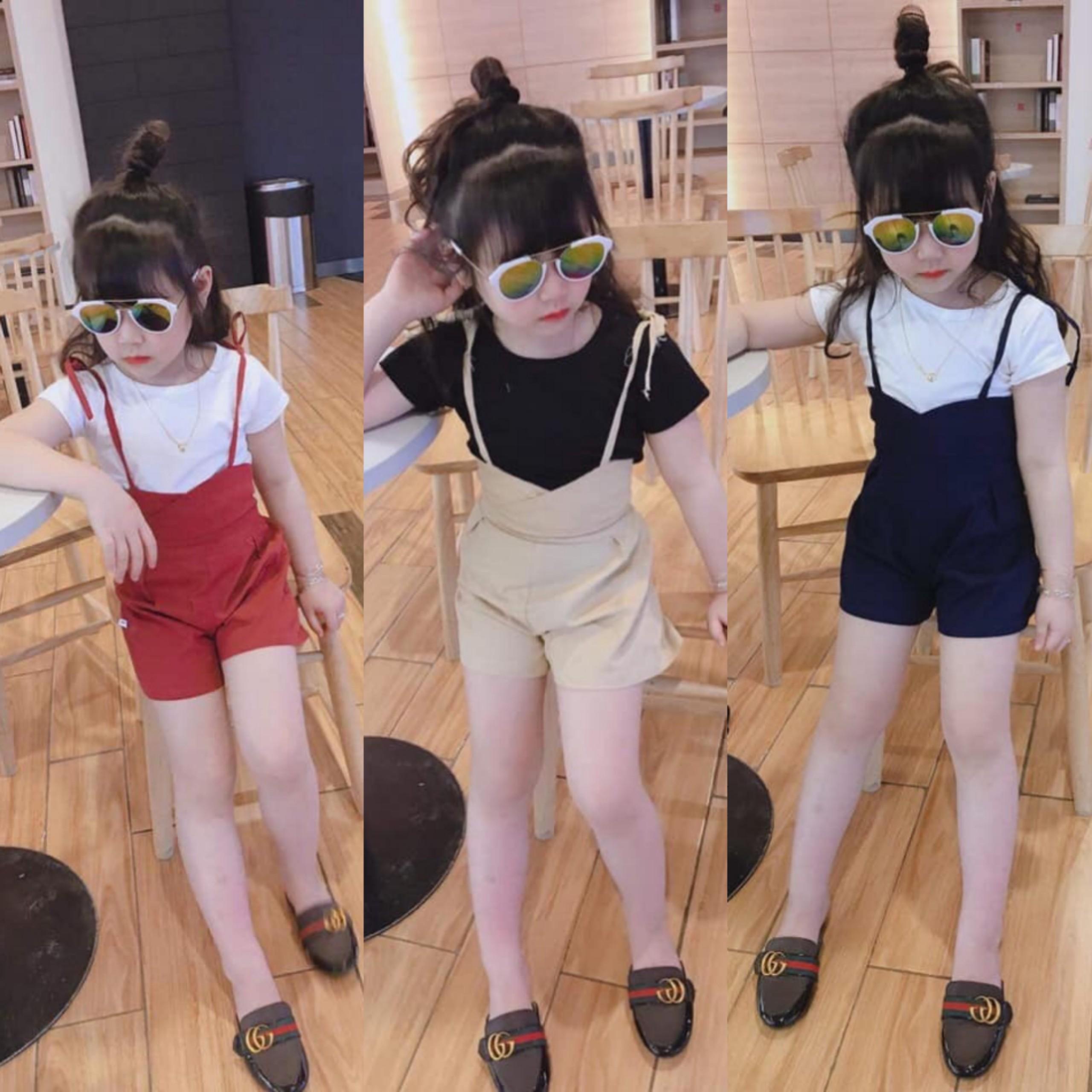 Kho buôn ]Hàng Quảng Châu xuất Hàn chuẩn xịn, set áo quần yếm cho bé gái,  bộ đồ bé gái, váy đầm bé gái giá rẻ 109.000₫