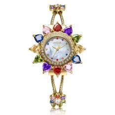 Đồng hồ nữ Julius Star Hàn Quốc JS-021A dây thép mặt hoa đính đá lục sắc