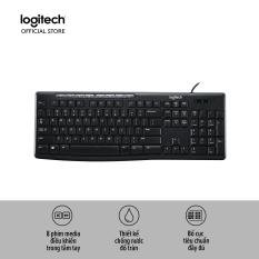 Bàn phím có dây Logitech K200 (Đen) với 8 phím media tiện dụng, Chống nước đổ tràn, Full size