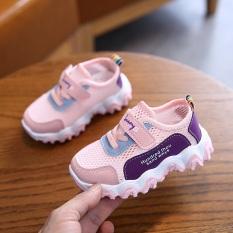 Giày thể thao bé gái cao cấp màu hồng siêu thoáng khí dành cho bé 1-8 tuổi