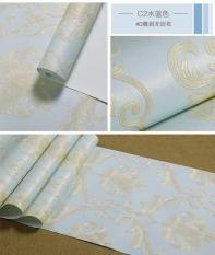10m giấy dán tường hoa văn nổi 3D màu xanh khổ 53cm shop tặng keo