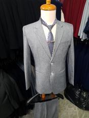 Bộ vest nam màu xám ghi form suông 2 nút chất liệu vải nhập cao cấp dày mịn + cà vạt kẹp