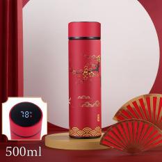 Bình giữ nhiệt 4 lớp hiển thị nhiệt độ họa tiết cổ Trung Hoa TiLoKi TGN 05 dung tích 500ml (giao ngẫu nhiên)