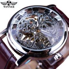 Đồng hồ cao cấp dây da mạ vàng thiết kế sang trọng Winner đồng hồ cơ