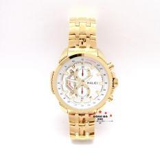 Đồng hồ nam HALEI dây kim loại thời thượng ( HL3049 dây vàng mặt trắng ) – TẶNG 1 vòng tỳ hưu phong thuỷ