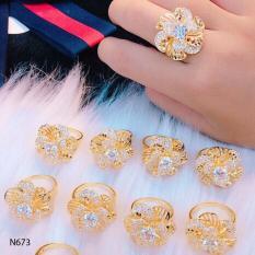 Nhẫn nữ hoa xoáy lớn đính đá thiết kế cao cấp Orin N681