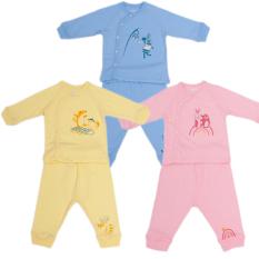 Bộ quần áo dài tay cài lệch cài giữa 100% cotton Mipbi cho bé từ sơ sinh