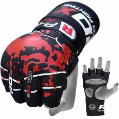 Găng tay RDX GRAPPLING GLOVE BLOOD DOUBLE STRAP BLACK -GGL-F2B