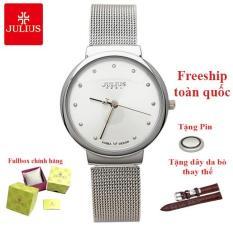Đồng hồ nữ thời trang Hàn Quốc Julius JA-426LD dây nhuyễn (Trắng dây trắng)
