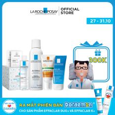 Bộ sản phẩm La Roche-Posay cho da dầu gồm: Kem chống nắng Anthelios Dry Touch, Gel rửa mặt Effaclar, Xịt khoáng và Tẩy trang