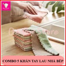 Combo 05 khăn lau chùi đa năng 2 mặt, lau nhà bếp, bát đĩa, bàn ghế,… thấm hút tốt, siêu mềm mịn
