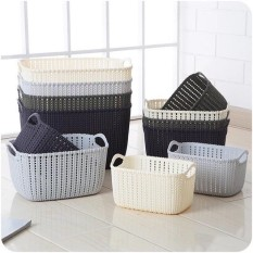 Rổ nhựa giả đan mây đựng đồ có quai cầm / Giỏ nhựa đan Hàn Quốc