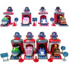 Đồ chơi Robocar Poli – Poli và những người bạn Bộ 4 nhà đẩy và 4 xe – Đồ chơi trẻ em